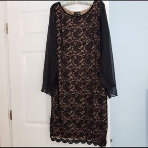 Black and nude lace dress